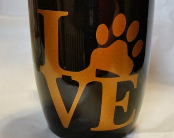 Dog Love Mug in Black with brown lettering