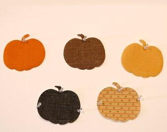 Pumpkin die cut applique pieces, fusible applique shapes