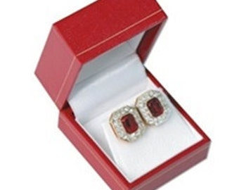 1 Classic Red Leatherette Earring Jewelry Display Gift Box