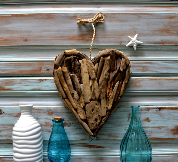 Large Heart Wall Decor : Handmade driftwood large heart wall art rustic decor