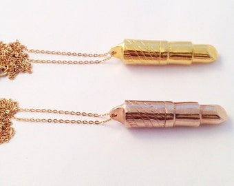 Lipstick Necklace Gold & Rose Gold Plate