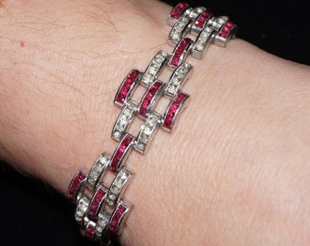 Vintage Art Deco Channel Set Ruby Rhinestone Bracelet Unsigned Alfred Phillippe