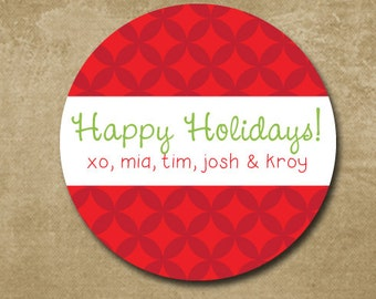 Happy Holidays Personalized Gift Stickers, Gift Tags red and green, Custom Round Stickers for Christmas,