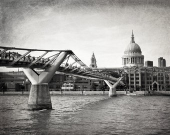 London Photography, St. Paul's, Cathedral Dome, Millennium Bridge, Black and White Photography, Fine Art Print, Home Decor, Travel, Wall Art