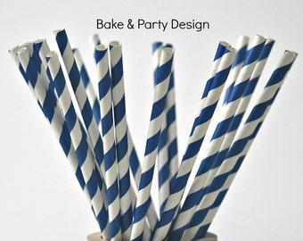 Pretty Blue Striped Paper Straws, Vintage 25 Straws