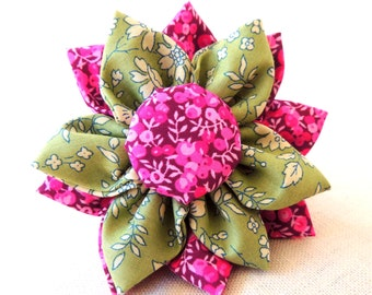 Beautiful Fabric Flower Brooch -  Green/Purple and Pink Liberty Print