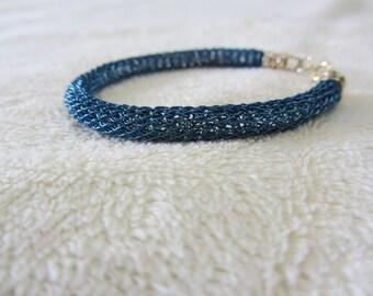 A Beautiful Light Blue Crochet Bracelet