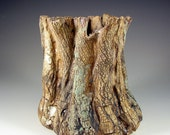 "Ceramic Sculpture Art – ""Sequoia Tree Stump"" – Handmade Centerpiece – Wheel Thrown Stoneware Art – Unique Pottery Ships Today"