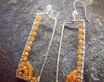 Asymmetrical Orange Carnelian Earrings