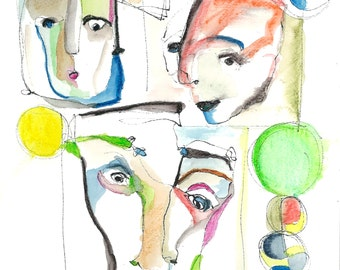 Abstract Watercolor Print. Three Colorful Faces-- ink pencils, watercolor (blue, pink, green)