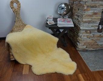 "Yellow Medical Throw Big XL Genuine leather Sheep Skin 48 ""x 28""  Decorative rug"