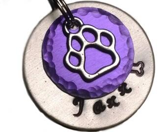 Pet ID tag, Dog Tag, Pet Tag, Dog ID Tag, Personalized Dog Tag, Custom Dog Tag, ID tag, Collar Tag, Dog Name Tag, Cat Tag, Aluminum, Purple
