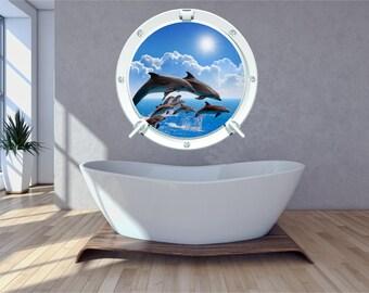 Dolphin 2 Sea Ocean Sunset Bathroom Bedroom Porthole Wall Art Sticker Decal WAP-P103C