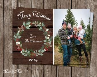 Rustic Wood Christmas Card, Merry Christmas Card, Holiday Greeting Card, Holidays, Christmas Greetings, Digital