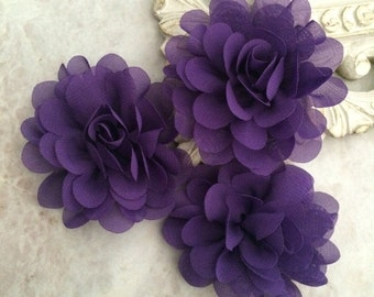 Petite Purple chiffon flower, chiffon flower, flower puff, material flower, headband flower, DIY supplies, fabric flower,