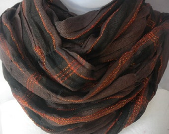 Stretchable Brown Black Scarf, Crushed Scarf, Shinning Lines, Long Scarf, Trendy Scarf...