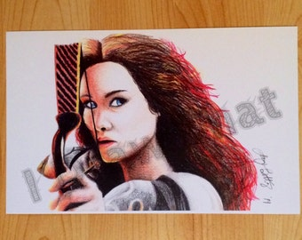 The Hunger Games Catching Fire Inspired Katniss Art Prints, 5.5x8.5, Colorful Wall Art Decoration