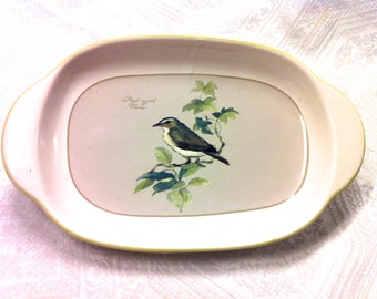 Vtg Blue Bird Hand painted 8x5 Relish Butter Dish Plate Off-White