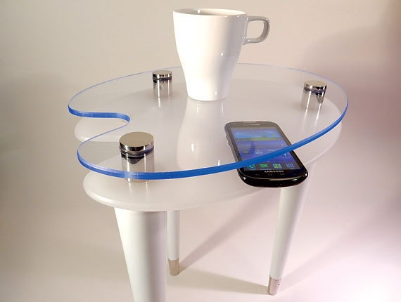 Items Similar To OOAK White Ice Acrylic Table   Stainless Steel Stand Offs    Accent Side End Table   Artist Palette Top   Exotic Blue Acrylic  Furniture On ...