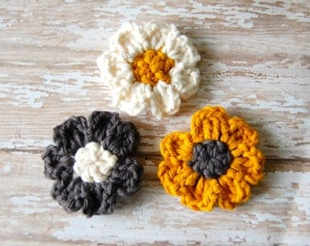 Modern Magnets, Crochet Flower Magnets, Flower Magnets, Crochet Magnets, Fridge Magnets, Kitchen Decor, Yellow and Grey, Teacher Gift