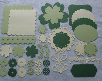 Green Photo Mats Photo mat die cuts Label die cuts Flower die cuts Embellishments Scrapbook die cuts Scrapbook photo mats Die cut shapes