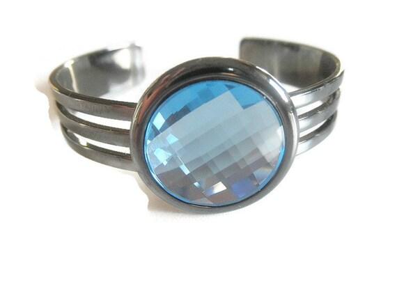 Gunmetal Cuff Bracelet Cuff Bracelet Aquamarine Bracelet Wrist Accessory March Birthstone