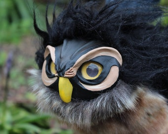 Black and Brown Owl Griffin OOAK Art Doll