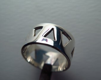 Triangles openwork band-Hand made-Solid Silver 925 Ring-READY TO SHIP!