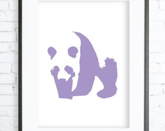Purple Panda Print, modern art, digital art, Purple Panda  print, Panda  Art,Panda Art