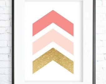 Christmas Decoration, Modern art decor printable, Geometric Print Art, Chevrons Art, Modern Art Prints,Coral Printable, Coral Wall Art