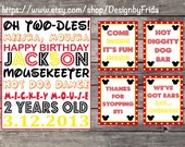 Personalized MICKEY MOUSE CLUBHOUSE 5 Printable 8 x 10 File Birthday Party Signs Decor Welcome Thank You Cheers Hot Diggity Dog Bar Sign