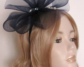 NAVY CRIN FASCINATOR, with Pearls and Crystal, on Navy covered headband, Handcrafted