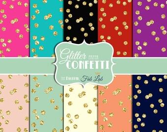 Gold Confetti Paper, Sparkling,Glitter, Digital Paper, 12x12, Scrapbook, Instand Download