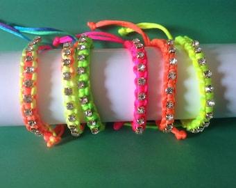 Crystal Rhinestone Friendship Bracelets , Girls , Teens , Free Shipping , Neon , Rainbow ,