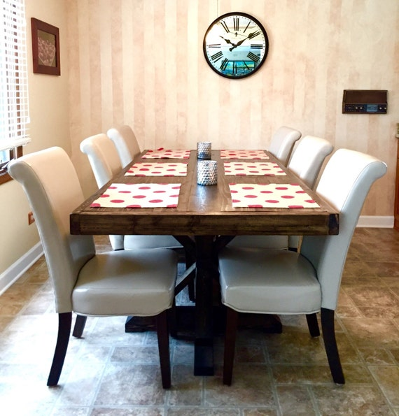Rustic 8 Person Large Kitchen Dining Table Solid Wood 9 Pc: Deals On 1001 Blocks