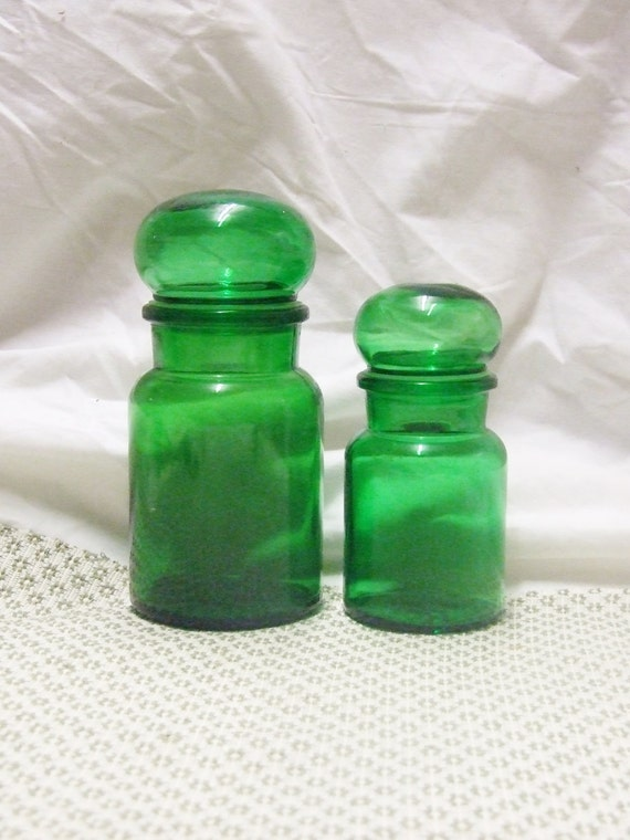 Green apothecary jars vintage home decor bathroom by for Emerald green bathroom accessories