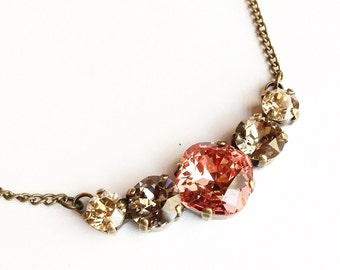 Rose Peach Swarovski crystal necklace