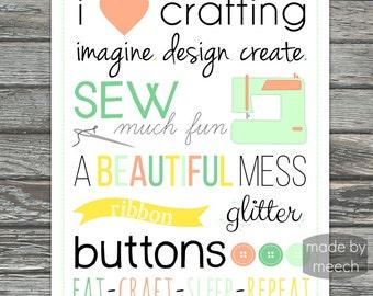 Craft Room Print, Sewing Print, 8x10