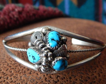 Native American Jewelry, Sterling, Turquoise bracelet,Navajo, vintage turquoise, sterling silver, pow wow, southwest jewelry, womens jewelry
