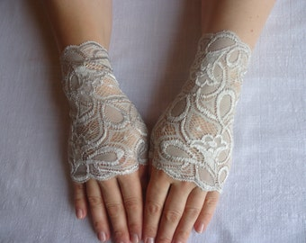 Light Gray Lace Gloves Light Gray lace mittens fingerless gloves french lace gloves