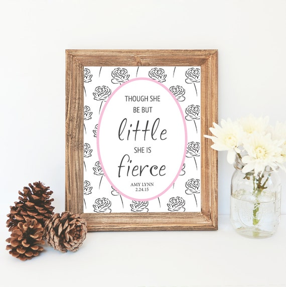 "Digital ""Little but Fierce"" Nursery Printable, Baby Shower Gift, Nursery Decor, Custom colors"