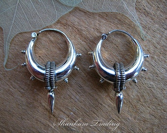 Tribal Silver Earrings, Spike Hoop Earrings, Gypsy Earrings, Indian Earrings, Sterling Silver Earrings, Ethnic Hoop Earrings, Belly Dance