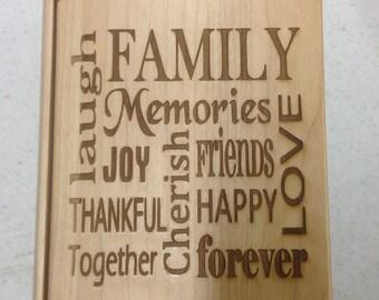 "Laser engraved Maple wood ""Family"" photo album"
