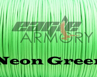 550 Paracord Commercial 7 Strand 50 foot NEON GREEN 550 paracord.  Made in the USA.  Fast shipping