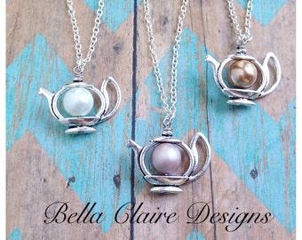 Teapot Charm Necklace, Teapot Necklace, pearl teapot necklace, tea kettle charm jewelry, delicate tea pit necklace, tea party necklace, tea
