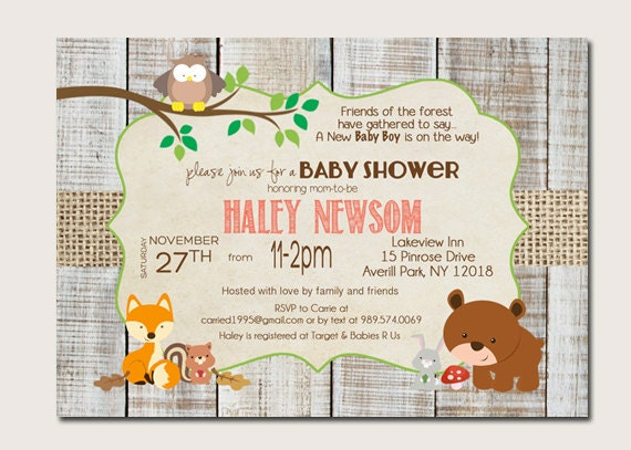 forest animal baby shower invitations woodland baby shower,