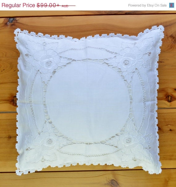 Handmade Shabby Chic Pillows : Shabby Chic Decor Handmade Linen Cushion Cover Throw Pillow