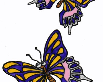 Hand painted window color window image WiCo two butterflies (030)