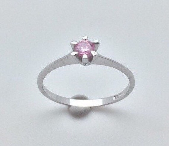 pink promise ring 925 sterling silver by