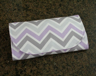 All-in-One Diaper Clutch with Built in Changing Pad - Travel clutch and changing pad - Gray and Purple Chevron